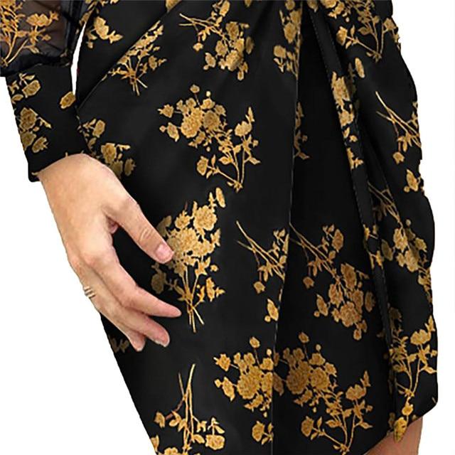 Mesh Sleeve Fashion V-Neck Pleated Elegant dress 6