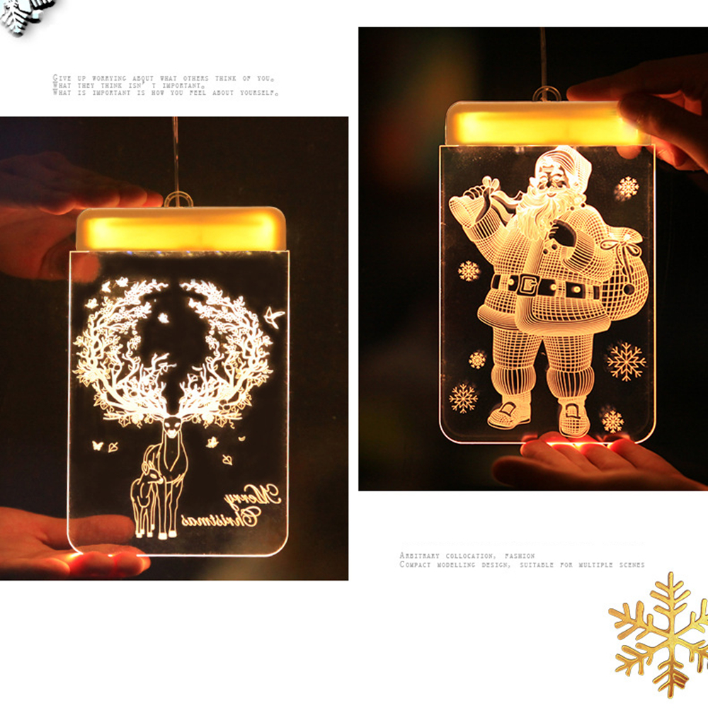 Holiday Light Christmas LED Fairy Lights Acrylic Warm White 3D Hanging Santa Bell Snowflake Show Window Lighting Decoration