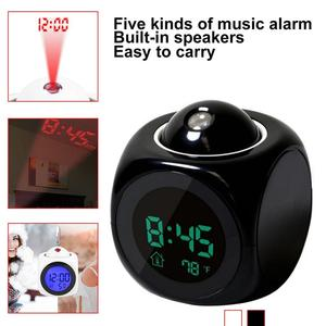 Image 5 - 2019 new LCD Projection Voice Talking alarm clock backlight Electronic Digital Projector Watch desk Temperature display
