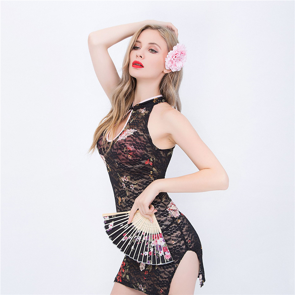 Sexy Lingerie Exotic Apparel <font><b>Sex</b></font> <font><b>Dress</b></font> Woman Babydoll Perspective Lace Porn <font><b>Chinese</b></font> Cheongsam Uniforms Costumes <font><b>Sex</b></font> Game Cosplay image