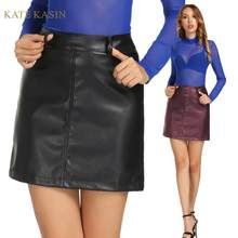 Kate Kasin Vrouwen Hoge Taille Pu Leer Rokken Sexy Korte Mini Potlood Rokken Herfst Winter Party Wear Dames Faux Leather rokken(China)