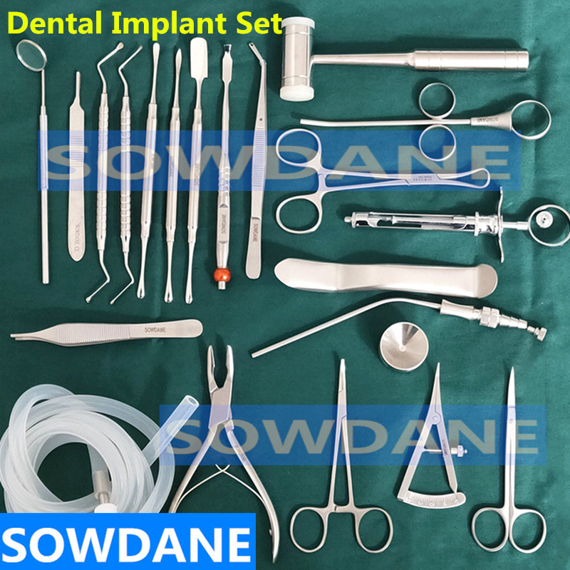 22 Pcs/set High Quality Dental Planting Set Dental Implant Kit Stainless Steel Instrument Dentist Surgical Tool With Hole Towel