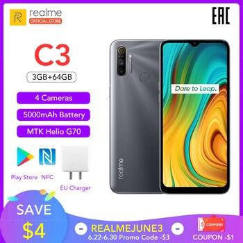 Перейти на Алиэкспресс и купить Realme C3 глобальная версия 3 Гб RAM 64 Гб ROM Pro мобильный телефон MTK Helio G70 CPU 12MP камера 6,5 дюйммини-капля полноэкранный 5000 мАч NFC