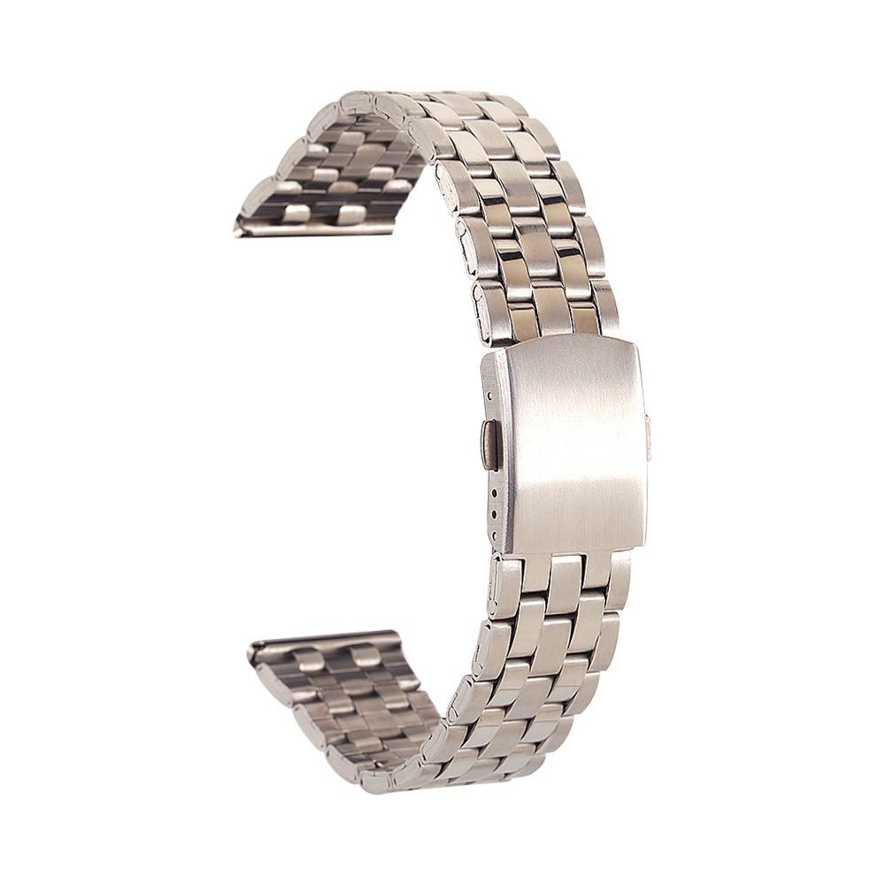 Women Men Unisex 16-24mm Watchstrap New Desigen Luxury Silver Stainless Steel Solid Watchband