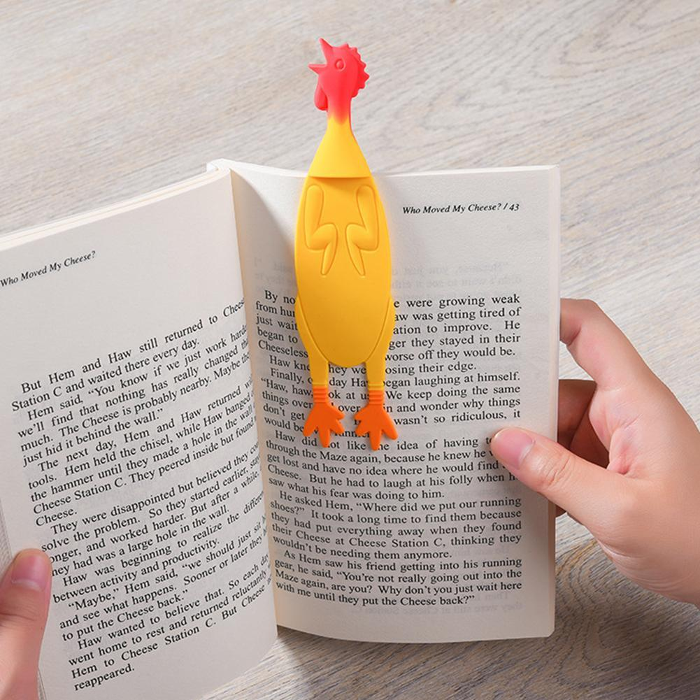 1PC Cute Animals Angry Chicken Bookmark Kawaii Silica Bookmarks For Books Promotional Gift Stationery Film Bookmark