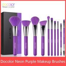 Docolor 10 sztuk fioletowy pędzle do makijażu włosy syntetyczne profesjonalny róż w proszku do podkładu eye Blending Contour pędzle do makijażu
