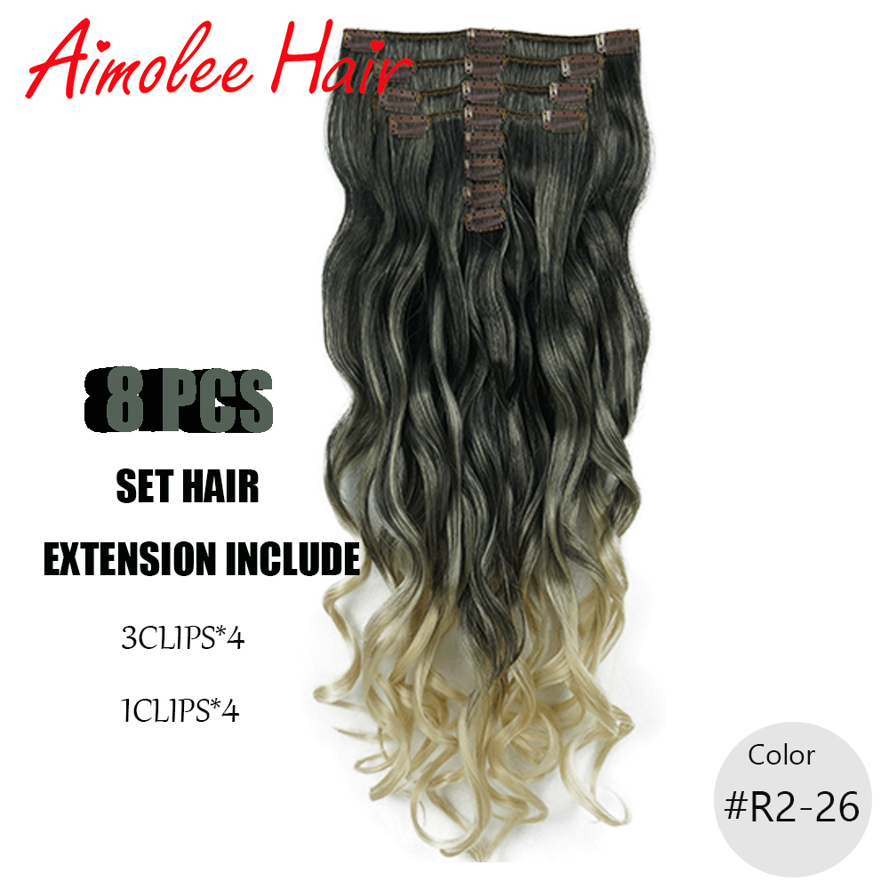 24 inches 8pcs/set Natural Synthetic Long Wavy Hairpiece Clip In Hair Extensions 21 Color <font><b>16</b></font> Clip High Temperature Fiber image