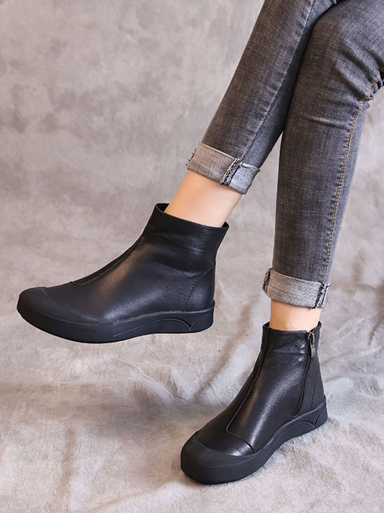 DRKANOL Flat-Ankle-Boots Warm Boots Autumn Botas Winter Women Soft Zipper for Comfortable