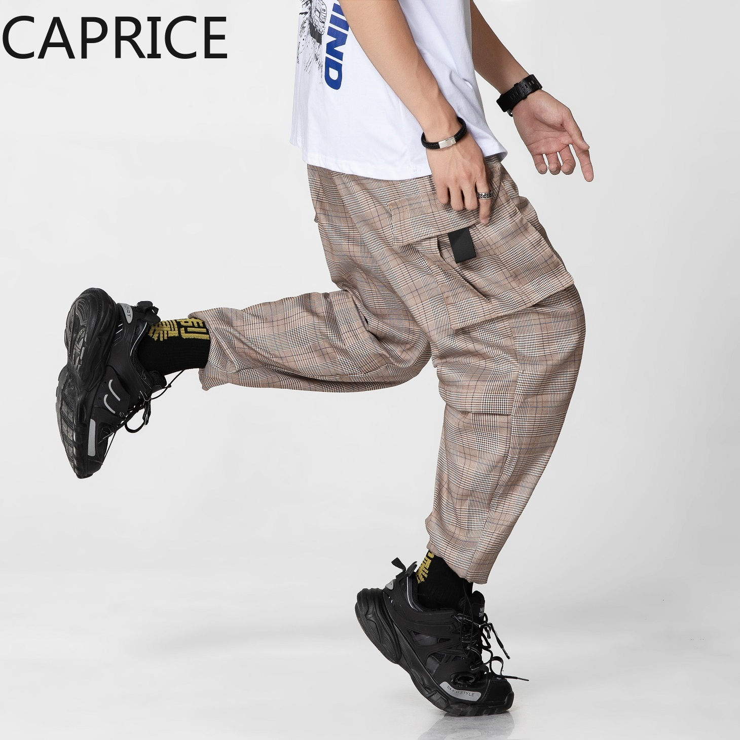 Couples Grid Joggers Cargo Harem Pants  1