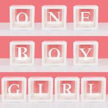 Transparente A-Z alfabeto nome do bebê amor menino menina caixa balões chuveiro do bebê decorações género revelar festa menino menina um ano de idade
