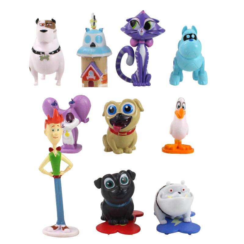 12pcs Set 0.5cm-8cm Puppy Dog Pals Bingo Rolly Bob Dog And Friends Pug Puppies PVC Figure Collectible Model Toy
