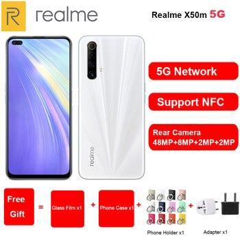 Перейти на Алиэкспресс и купить Совершенно новый мобильный телефон Realme X50m 5G 6,57 дюйм6GB/8GB RAM 128GB ROM Snapdragon 765G 120Hz Andorid 10 NFC Dual SIM смартфон