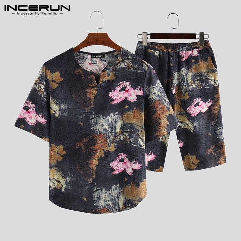 Men Sets Printed Short Sleeve Vintage V Neck Shirt Streetwear Elastic Waist Pants Casual Chinese Style Men Sets 2 Pieces INCERUN