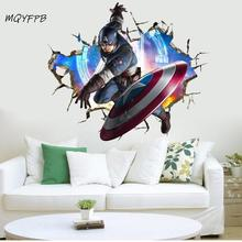 3D Captain America broken wall background stickers children room decoration painting PVC picture posters