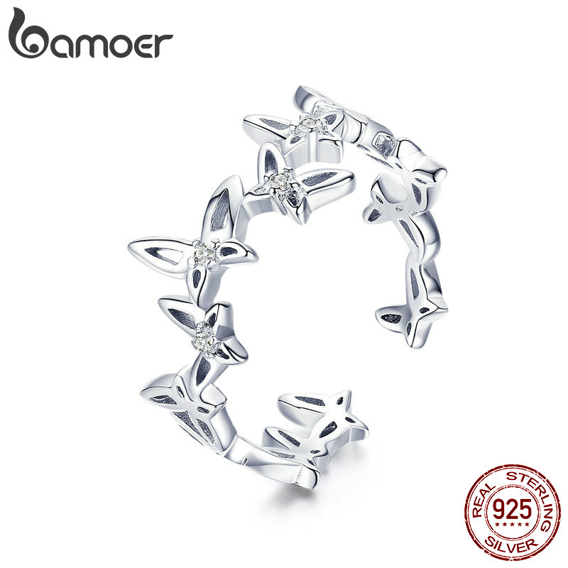 BAMOER Fashion 925 Sterling Silver Stackable Dancing Butterfly Open Size Finger Rings For Women Luxury Silver Jewelry BSR027