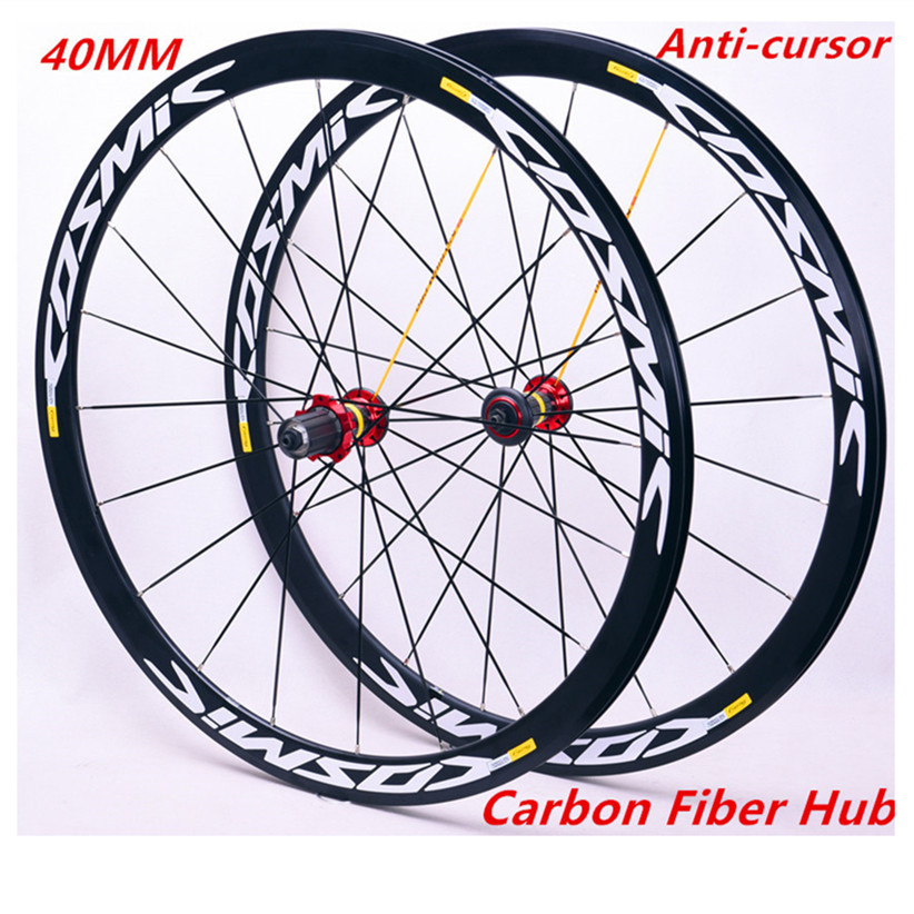 Road Bike <font><b>700C</b></font> 40mm Wheelset Carbon Hub Ultra Light Aluminum Alloy <font><b>Rim</b></font> Bicycle Gear Set Compatible With Wheels Set image