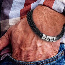 Personalized Handmade Woven Rope Chain Bracelet Men Charm Customized Leather with Stainless Steel Engraved 4 Name Beads