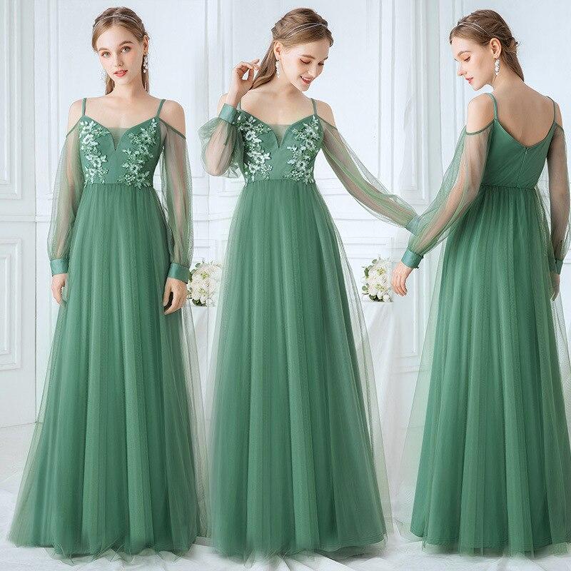 Maid Of Honor Dresses For Weddings A-Line Spaghetti Straps Flowers Chiffon Bridesmaids Dresses For Women Vestido Azul Marino