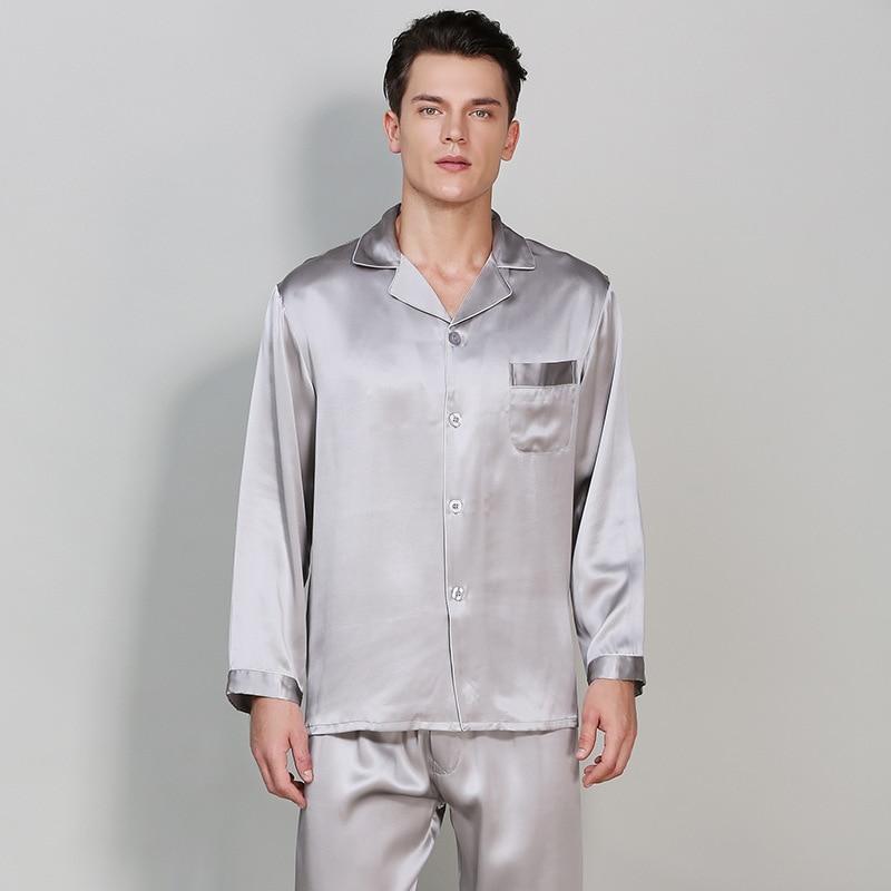 100% Mulberry Silk Men Pajama Sets Notch Collar Long Sleeves Top With Full-Length Pant With Elastic Waist Pajamas Pyjama Sp0139