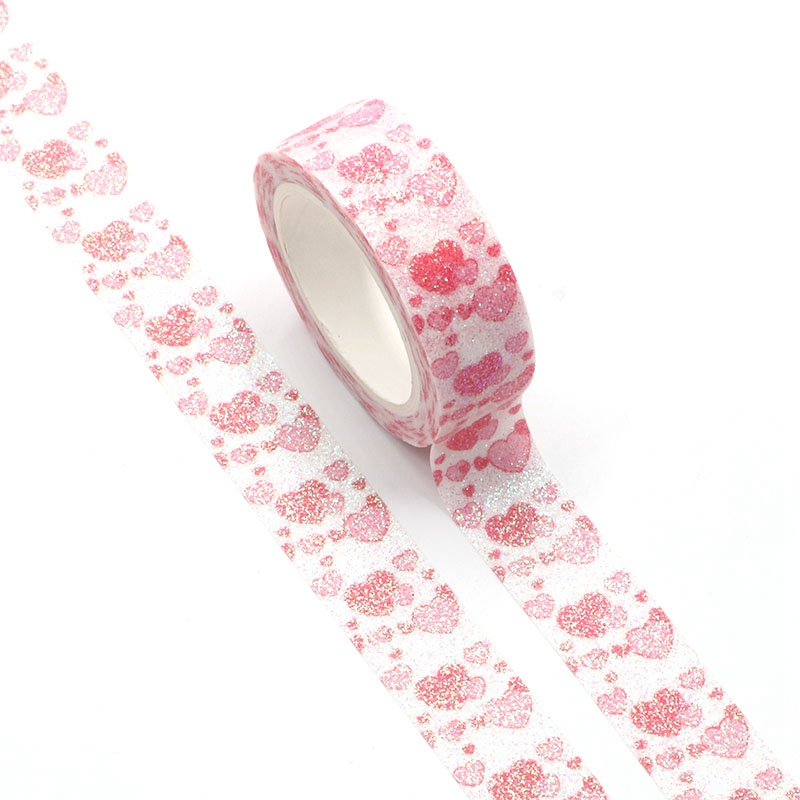 NEW 1pc Decorative Pink Hearts Sparkle Valentine Washi Tape Kawaii Scrapbooking Stickers Adhesive Masking Tape Stationery