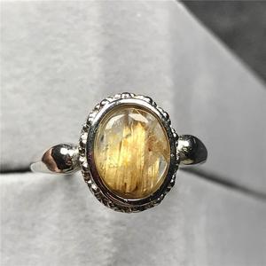 Image 3 - 12X10Mm Natuurlijke Gold Rutielkwarts Ring Voor Vrouw Man Crystal Oval Kralen Zilveren Fashion Maat Verstelbaar Ring sieraden Aaaaa