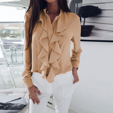 New Women Soft Blouse Tops Long Sleeves Ruffled V-neck Solid Color Slim Tops