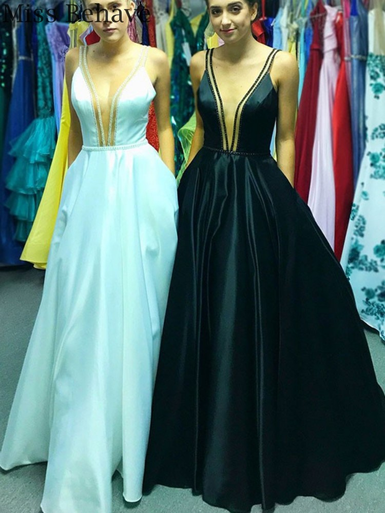 DD JYOY Sexy V Neck Evening Dress Long Satin Formal Women Evening Gown Party Sleeveless with Open Back Floor Length