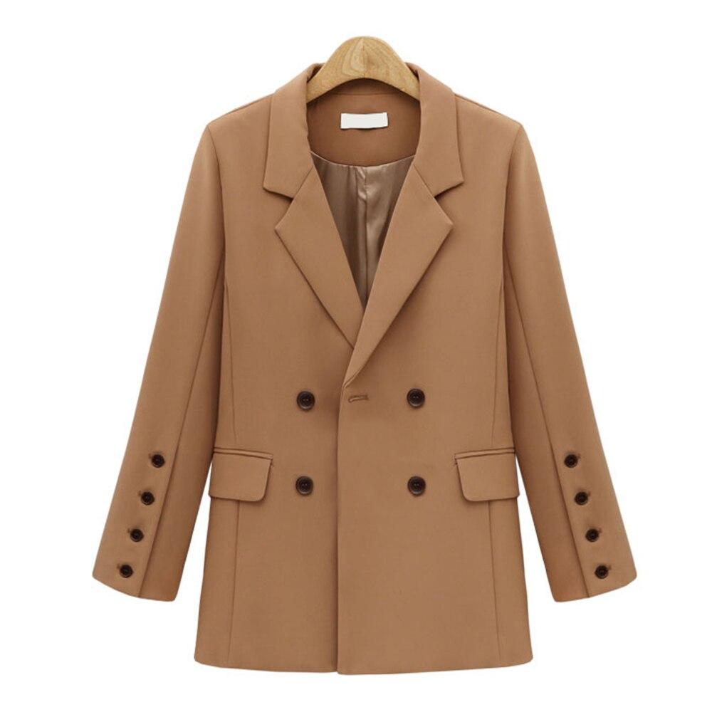 Women Autumn Winter Suit Blazer Women Casual Double Breasted Pocket Female Jackets Elegant Long Sleeve Blazer Outerwear