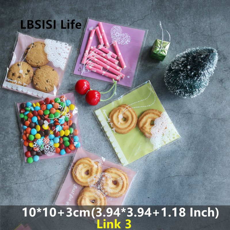 LBSISI Life 100pcs 10*10+3cm Cookies Candy Soap Bags Resealable Gift DIY Food Beans Cookie Handmade Self Adhesive Packing Bag