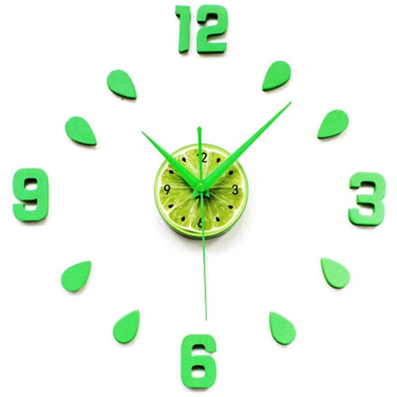 Lemon Green Design Sticker EVA 60CM Wall Clock Colour Big Large Decorative 3D Diy Wall Clock For Kitchen Children Room