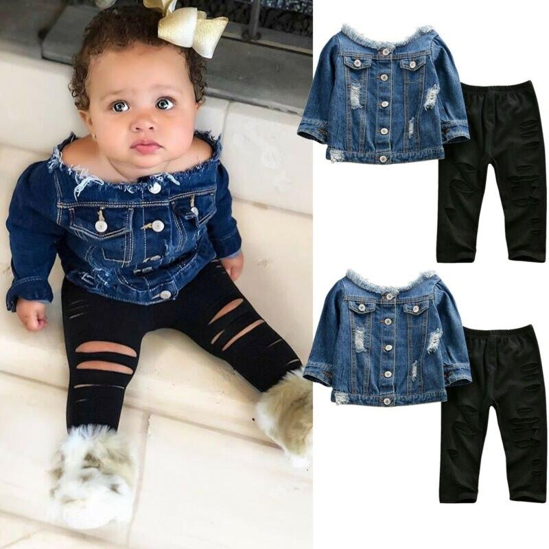 Infant Baby Girl Clothes Sets 1-6Y Denim Off Shoulder Tops Shredded Skinny Pants Autumn Clothes Sets