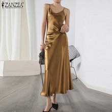 Plus Size Elegant Women Summer Dress 2021 ZANZEA Fashion Spaghetti Strap Party Sundress Slip Dresses Solid Sexy Club Vestidos
