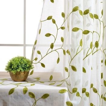 Rústico verde hojas cortinas bordadas puro tul azul con hojas blanco apagón cortinas para sala de estar cortinas WP072 #4