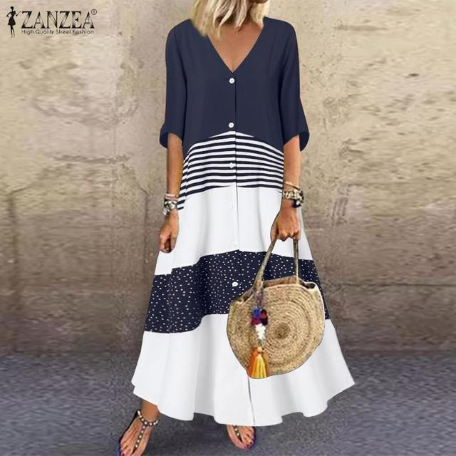 casual and fun, long stripes, button top dress 1