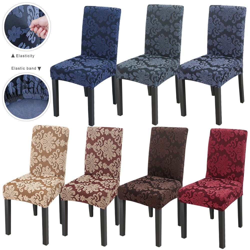1/2/4/6Pcs 2020 Floral Jacquard Stretch Elastic Chair Covers Spandex For Wedding Dining Room Office Banquet Housse De Chaise