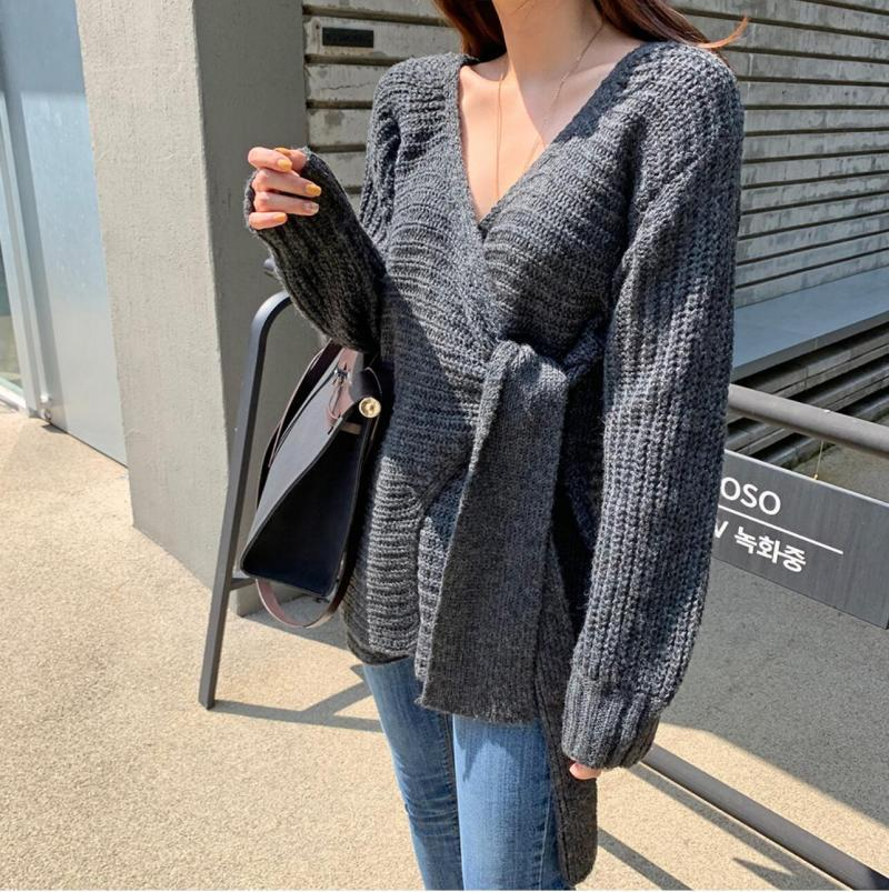 SuperAen Fashion Sweater Coat Female Korean Style New 19 Autumn and Winter Wild Ladies Sweaters Solid Color Women Knit Tops 9