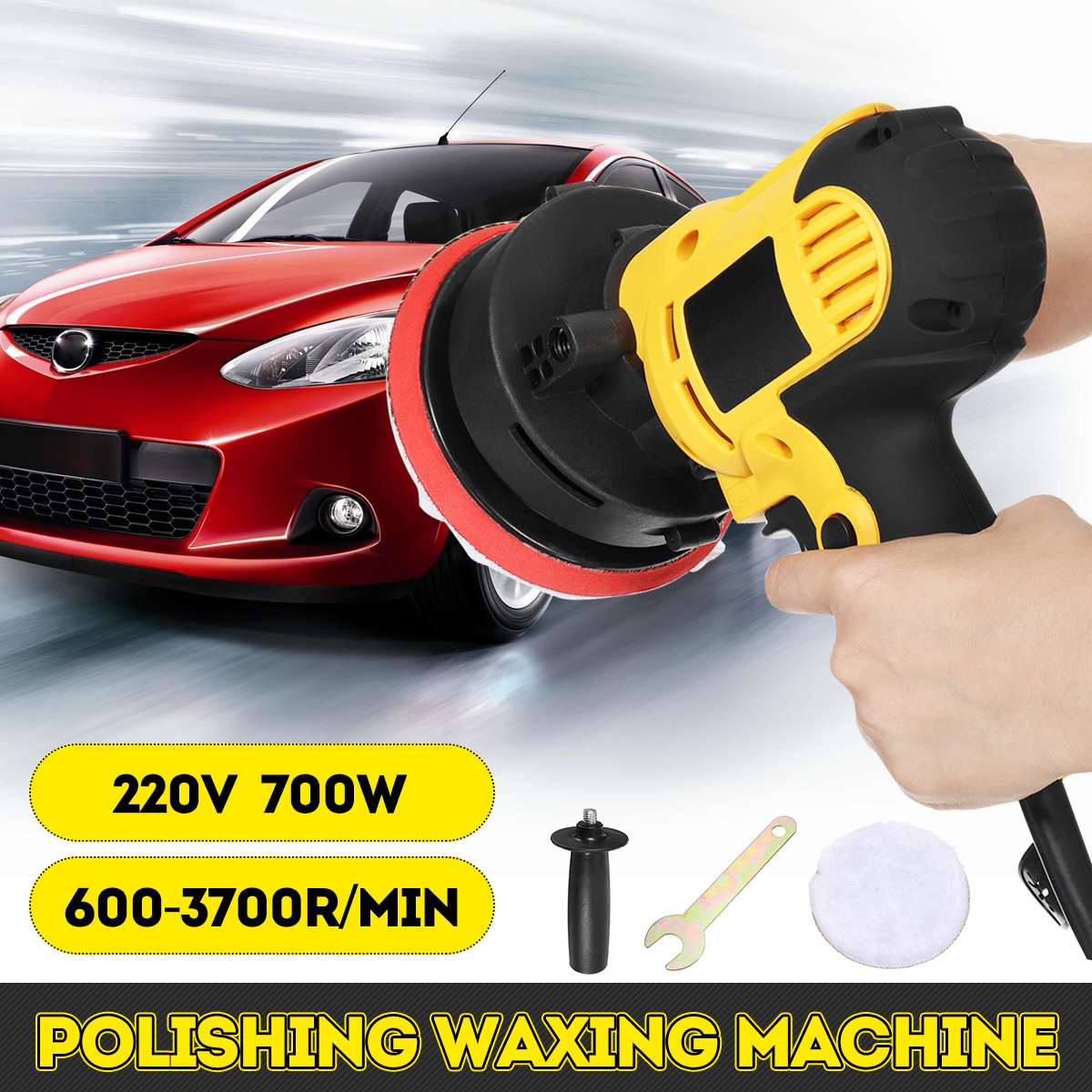 700W 600-3700rpm Electric Car Polisher Machine 220V Auto Polishing Machine 6 Speed Sander Polish Waxing Tools Car Accessories