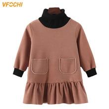 цены VFOCHI 2019 New Girls Wool Dress Winter Thick Long Sleeve Turtleneck Kids Casual Dress Warm Children Clothing Baby Girls Dresses