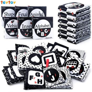 teytoy My First Soft Book, Nontoxic Fabric Baby Cloth Activity Crinkle Soft Black and White Books Toys for Infants oxford first atlas activity book