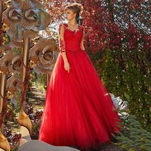 цена на Prom Dresses 2020 Newest Tulle Jewel Neck 3/4 Length Sleeves A-line Evening Dress With Beaded Lace Appliques Formal Gala Dress