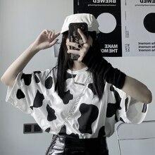 Woman Tshirts Cow Print Oversized Casual Loose Short Sleeve T-shirt Streetwear Tops Harajuku Vogue Tees Fashion Pullov