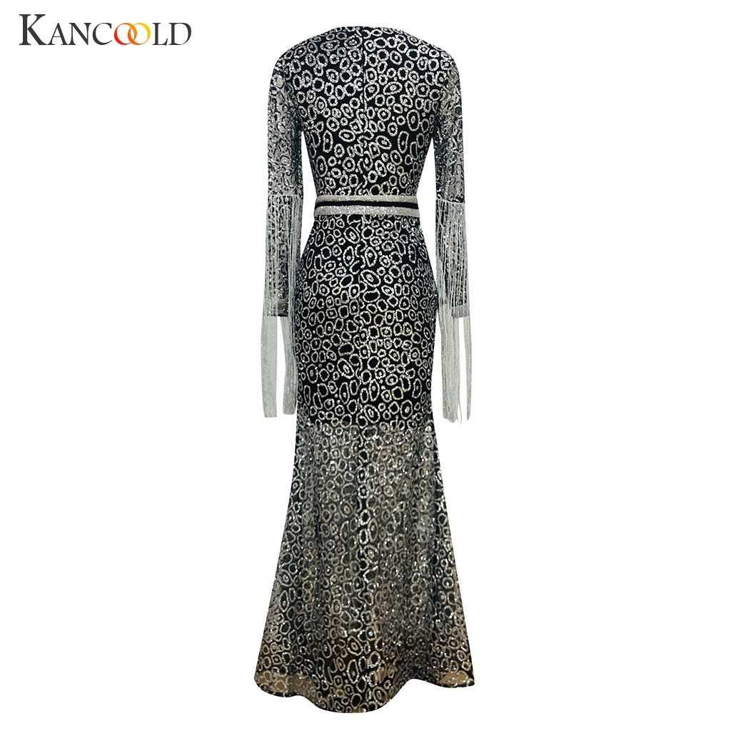 Kancoold vestido sexy borla cor sólida manga longa com decote em v sling lantejoulas longo vestido completo império moda novo vestido feminino 2019dec13
