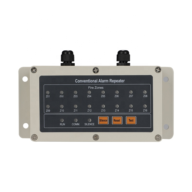 RS485 Repeater Conventional Remote Fire Alarm Annunciator Panel 16zones Display Repeater Panel For Alarm System