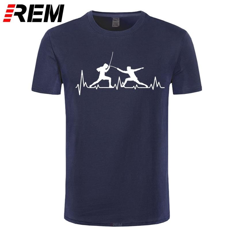 Summer Men T Shirt HeartBeat Fencing T Shirts Funny Short Sleeve Cotton Fencing Men T-Shirt Cool Gift Men Clothing