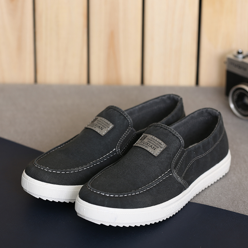 Men Canvas Shoes Spring Autumn Slip-ON Retro Style Breathable Fashion Black White Red Casual Students Shoes S1251-1275 Dn