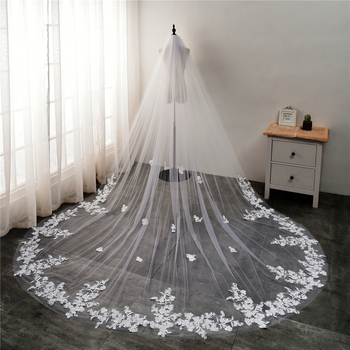 2020 White/Ivory Wedding Veils Long Lace Edge Flower Luxurious Applique Cathedral Bridal Veil With Comb 3/5 Meters velo de novia