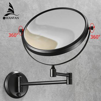 Lustra łazienkowe 8 #8217 round Wall lustro do makijażu 3X1 lustra powiększające czarny mosiądz dwustronnie Beauty 360 Rotate lustro łazienkowe 1308 tanie i dobre opinie Miedzi CLASSIC 8 cal Oprawione lustra