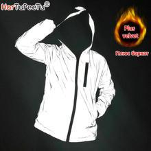 Winter Thicken Reflective Light Men Jacket Women Plus Velvet Jackets Girls Hip Hop Streetwear Skateboard Waterproof Coat Outwear