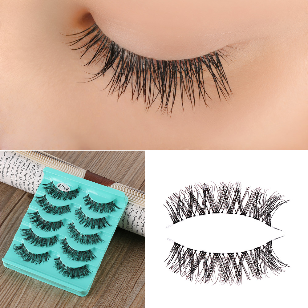 5 Pairs Newest Fashion Long Black Handmade Cross Soft Thick Long False Eyelashes Eye Lashes Extension Women Eye Makeup Tools
