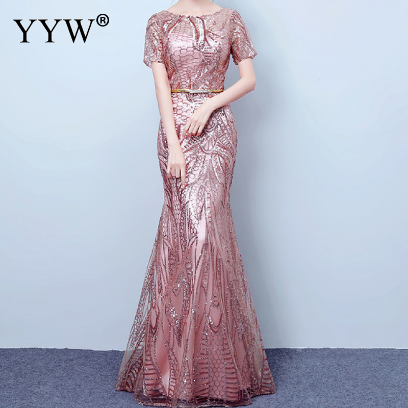 Elegant Floral Sequins Women Evening Dresses Short Sleeve Slim Mermaid Party Gowns Gold Pink Sequined Club Wedding Sexy Vestidos